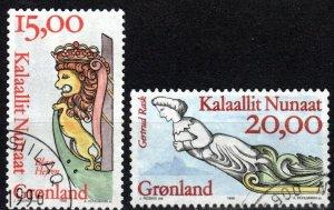 Greenland #309-10 F-VF Used CV $13.00  (X4804)