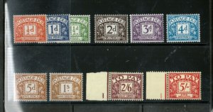 Great Britain #J45 - #J54 Extra Fine Never Hinged Set Of Ten