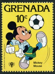 Disney: Mickey Mouse playing Soccer (Football), 1979 Grenada, Scott #956