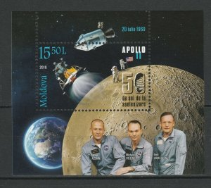 Moldova 2019 Space, Apollo 11 50th Anniversary Moon Landing MNH Block