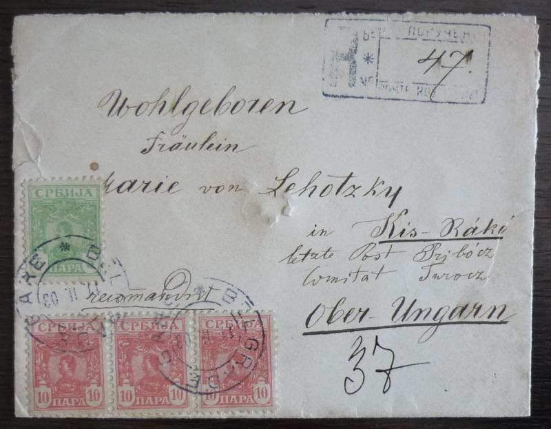 1903 Serbia - 3x10p + 5p on small R-cover from Belgrade to Hungary R!