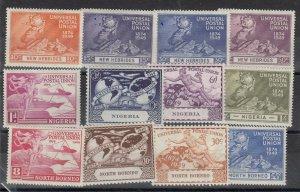 New Hebrides Nigeria North Borneo 1949 UPU Sets x 3 MNH J7097