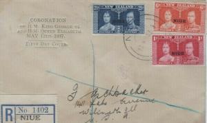 NIUE Sc #70/72 CORONATION 1937 FDC