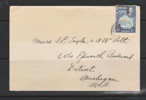 Bermuda cover to USA, Postmarked MANGROVE BAY, 1936 2 1/2d def Used