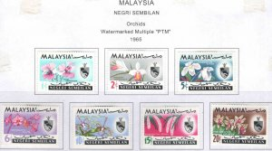 Malaysia -  Negri Sembilan Scott 76-82 MH* Orchid set 1965