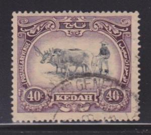 Kedah 40 VF-used neat cancel nice color cv $45 ! see pic !