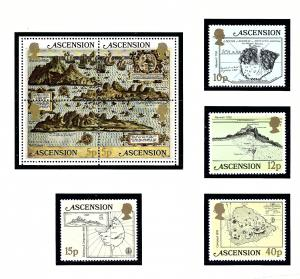 Ascension 289-93 MNH 1981 Old Maps of Ascension