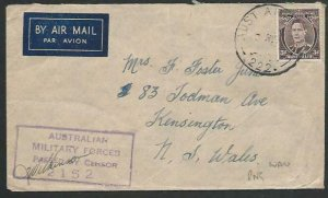 AUSTRALIA WW2 forces in PAPUA censor cover AUS ARMY PO 222. at Wau........12575