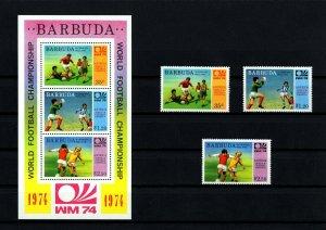BARBUDA - 1974 - SOCCER - WORLD CUP  + SCORES - OVPT - MINT - MNH SET + S/SHEET!