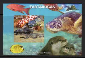 Sao Tome and Principe 2005 Turtles/Marine Life/Space Souvenir Sheet Imperforated