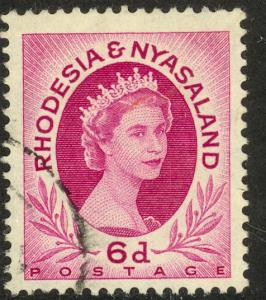 RHODESIA AND NYASALAND 1954-56 6d QE2 Portrait Issue Sc 147 VFU