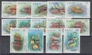 St. Kitts Sc 139 var -152var MNH. 1984 Sea Life w/ Specimen overprints cplt