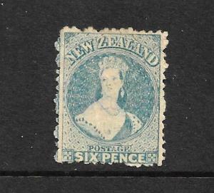 NEW ZEALAND 1871-72  6d  BLUE  FFQ  MH SPECIMEN  P12 1/2  SG 136s CHALON