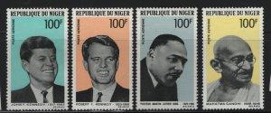 NIGER, C94-C97, MNH, 1968, ROBERT F. KENNEDY, JOHN F. KENNEDY, MAHATMA GHANDI