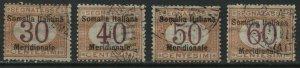Italian Somalia overprinted 1906-08 Postage Dues 30 to 60 centesimi used