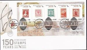 NEW ZEALAND 2005 150 Years of Stamps souvenir sheet FDC.....................8398