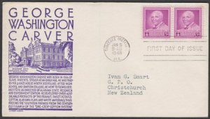 USA 1948 3c Carver - C Stephen Anderson commem FDC to New Zealand...........M127