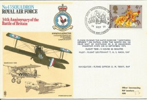 Battle Of Britain 34th Anniversary Flown RAF Cover 14 Sep 1974 BFPS1940 Z10208