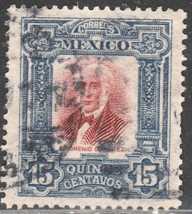 MEXICO 316, 15cs INDEPENDENCE CENTENNIAL 1910 COMMEM USED. VF. (223)