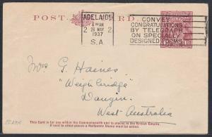 AUSTRALIA 1937 GV 1½d postcard commercially used Adelaide to WA............53776