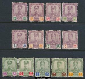 1918-20 Malaya Johore Short set of 13 SG 89-101 MH