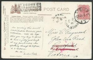 VICTORIA AUSTRALIA 1907 postcard NOT KNOWN BY / LETTER CARRIERS / ELSTERNWICK