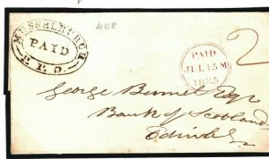 GB SCOTLAND Cover Musselburgh PENNY POST PAID OVAL Super Strike 1835 B134