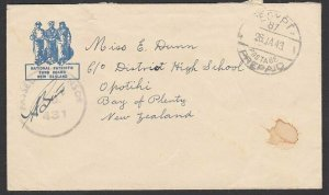 NEW ZEALAND FORCES IN EGYPT 1943 censor cover EGYPT / POSTAGE / PREPAID.....K215