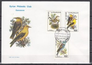 Syria, Scott cat. 1238-1240. Birds issue. First day cover. ^