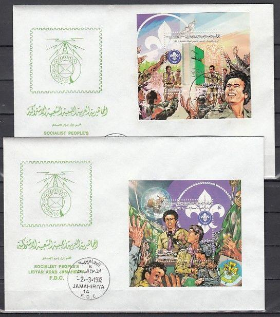 Libya, Scott cat. 1012-1013. Scouting Anniversary s/sheets. 2 First day covers.