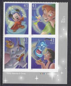 Catalog # 4192 95  Art of Disney Magic  Plate Block of 4 41cent Stamps