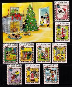 CAICOS Sc# 22-31 var MNH FVF Set 9 + SS  Disney Christmas