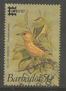 BARBADOS 702 USED, BIRDS, YELLOW WARBLER