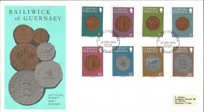 Bailiwick Of Guernsey Coins Official First Day Cover 13th February 1979 Z6413