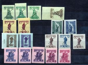 POLAND Proba Proofs Imperfs MNH (18 Stamps) (PM483s
