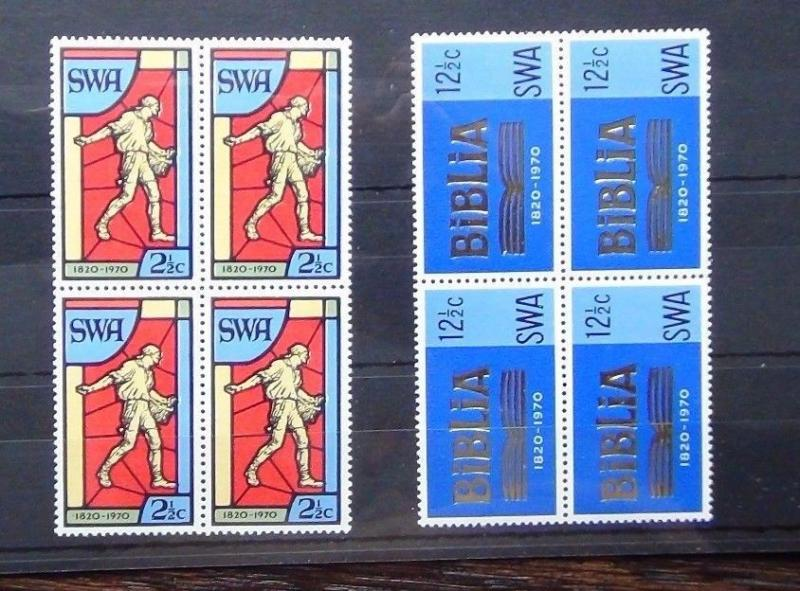 South West Africa 1970 Bible Society set in block x 4 MNH