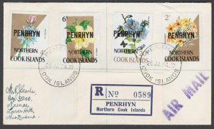PENRHYN IS 1974 Registered cover to New Zealand - nice franking.............M942