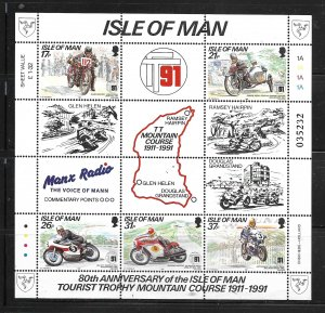 ISLE OF MAN, 476A, MNH, SS OF 5+7 LABELS, TOURIST TROPHY MOUNTAIN COURSE