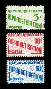 HAITI #RA28-RA30 ALPHABETISATION POSTAL TAX STAMP ISSUE 1960 MNH-OG