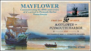 20-237, SC 5524, 2020, Mayflower in Plymouth Bay, FDC, Digital Color Postmark,