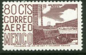 MEXICO C265b 80c 1950 Def 6th Issue Fosforescent unglazed MINT, NH. VF.
