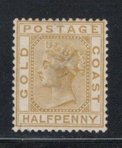 Gold Coast 1883 Queen Victoria 1/2p Scott # 10 MH Thin