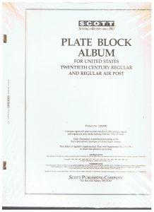 Scott Plate Block Album for US 20th century regular and regular air post  NOS