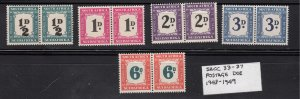 J28464,1948-9 south africa set pairs mh  #j34-8 postage dues $192.00 scv