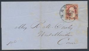 #11A ON FOLDED LETTER NY 3-BARS FEB 27,1852 EXPERIMENTAL POSTMARK BR3074