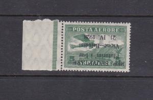 ALBANIA 1928 FIRST FLIGHT INVERTED OVERPRINT - SIGNED - SCOTT C15a - MNH