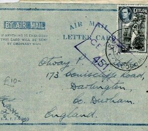 CEYLON Cover GB FORCES Air-Letter CENSOR 1944 WW2 {samwells-covers} CW50