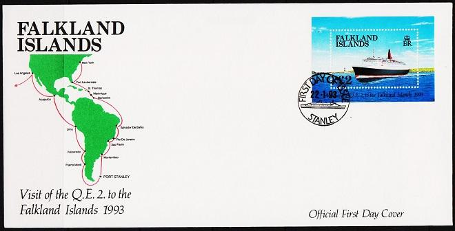 Falkland Islands. 1993 FDC £2 Miniature Sheet. S.G.MS675  Fine Used