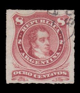 ARGENTINA STAMP 1874. SCOTT # 34. USED. IMPERF.
