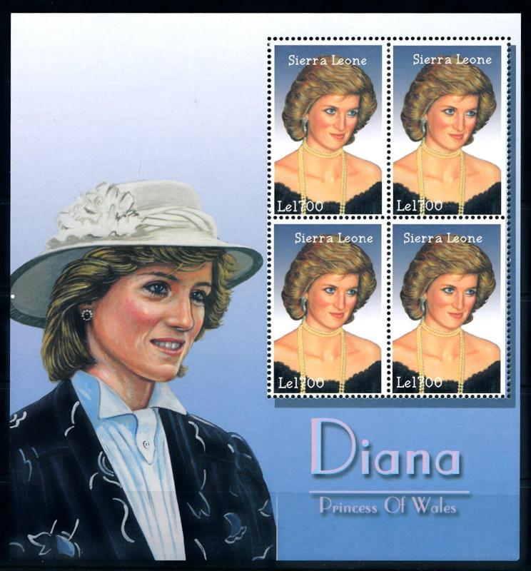 [95317] Sierra Leone 2002 Royalty Princess Diana Sheet MNH
